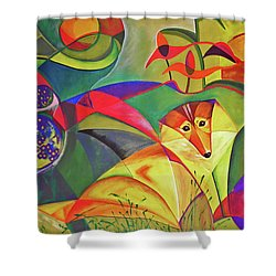 Spring Dog Shower Curtain