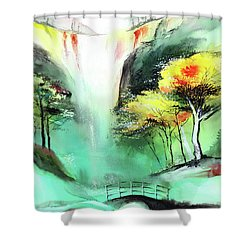 Shower Curtain featuring the painting Spring Fall by Anil Nene