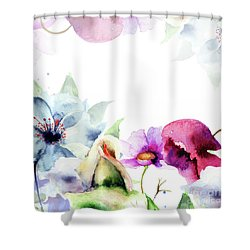 Spring Floral Background Shower Curtain