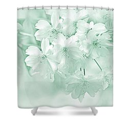 Shower Curtain featuring the photograph Spring Flower Blossoms Teal by Jennie Marie Schell