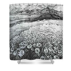 Shower Curtain featuring the drawing Spring Flowers by Anna  Duyunova