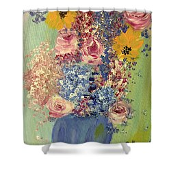 Spring Flowers In Vase Shower Curtain by Angela Holmes