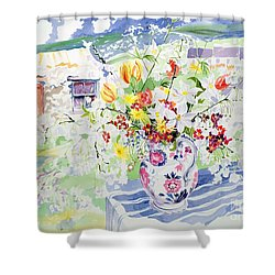 Spring Flowers On The Island Shower Curtain by Elizabeth Jane Lloyd