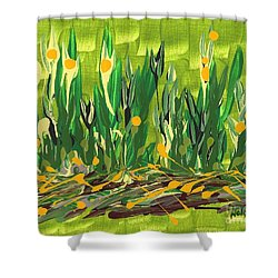 Shower Curtain featuring the painting Spring Garden by Holly Carmichael