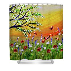 Shower Curtain featuring the painting Spring Has Sprung by Sonya Nancy Capling-Bacle