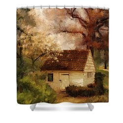 Shower Curtain featuring the digital art Spring House In The Spring by Lois Bryan