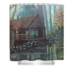 Shower Curtain featuring the painting Spring House Road Reflections by Gretchen Allen