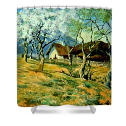 Shower Curtain featuring the painting Spring In Poland by Henryk Gorecki