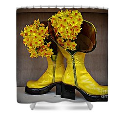 Spring In Yellow Boots Shower Curtain