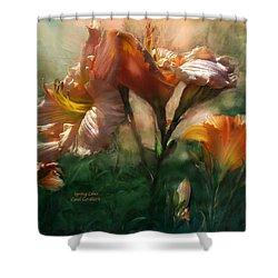 Spring Lilies Shower Curtain by Carol Cavalaris