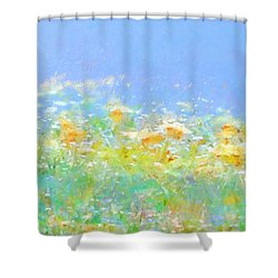 Spring Meadow Abstract Shower Curtain by Menega Sabidussi