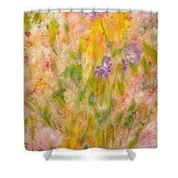Spring Meadow Shower Curtain by Claire Bull