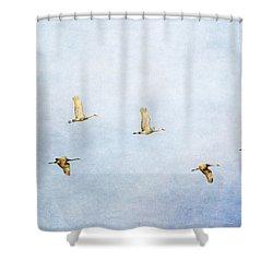 Spring Migration 3 - Textured Shower Curtain