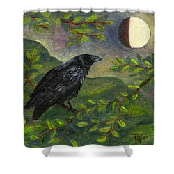 Spring Moon Raven Shower Curtain