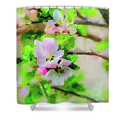 Shower Curtain featuring the painting Spring On A Branch by Steven Santamour