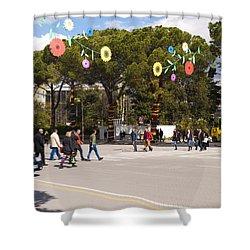 Spring On Deshmoret E Kombit Boulevard Shower Curtain by Rae Tucker
