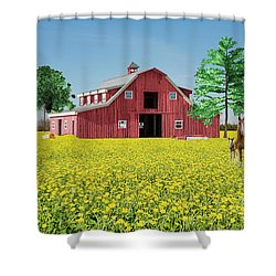 Spring On The Farm Shower Curtain by Bonnie Barry