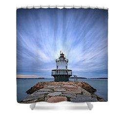 Spring Point Ledge Light Station Shower Curtain by Rick Berk
