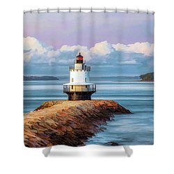 Shower Curtain featuring the painting Spring Point Ledge Lighthouse by Christopher Arndt