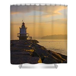 Spring Point Lighthouse At Dawn. Shower Curtain by Diane Diederich
