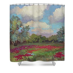 Shower Curtain featuring the painting Spring Poppies by Diane McClary