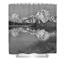 Spring Reflections At Oxbow Bend Black And White Shower Curtain by Adam Jewell