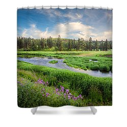 Shower Curtain featuring the photograph Spring River Valley by Rikk Flohr