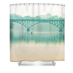 Shower Curtain featuring the photograph Spring - Rowing Under The Strawberry Mansion Bridge by Bill Cannon