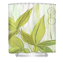 Spring Shades - Muted Green Art Shower Curtain by Lourry Legarde