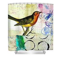 Shower Curtain featuring the mixed media Spring Song by Elena Nosyreva