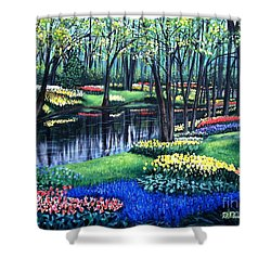 Shower Curtain featuring the painting Spring Splendor Tulip Garden by Patricia L Davidson