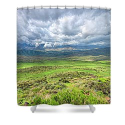 Spring Storm Moving Over The Bradshaw Shower Curtain by Charles Ables