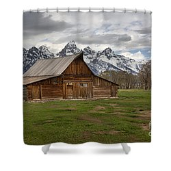 Spring Storms Over The Moulton Barn Shower Curtain by Adam Jewell