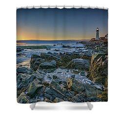 Spring Sunrise At Portland Head Shower Curtain by Rick Berk