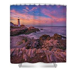 Spring Sunset At Portland Head Lighthouse Shower Curtain by Rick Berk