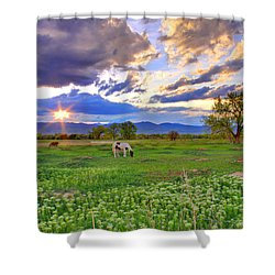 Spring Sunset Over The Rockies Shower Curtain