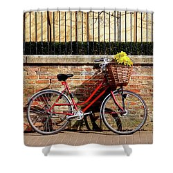 Shower Curtain featuring the photograph Spring Sunshine And Shadows - Bicycle In Cambridge by Gill Billington