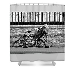 Shower Curtain featuring the photograph Spring Sunshine And Shadows In Black And White by Gill Billington
