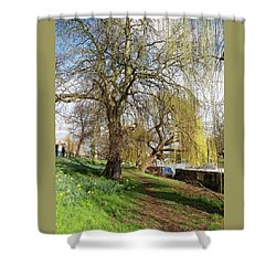 Spring Sunshine On Cambridge Riverbank Shower Curtain by Gill Billington