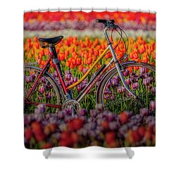 Shower Curtain featuring the photograph Spring Tulips And Bicycle by Susan Candelario