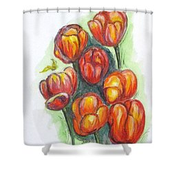 Spring Tulips Shower Curtain by Clyde J Kell