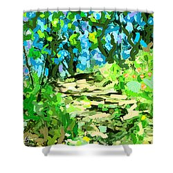 Spring Wood Path  Shower Curtain