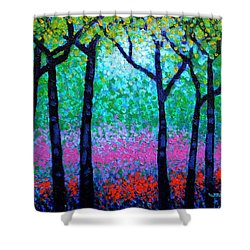 Spring Woodland Shower Curtain by John  Nolan