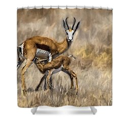 Springbok Mom And Calf Shower Curtain