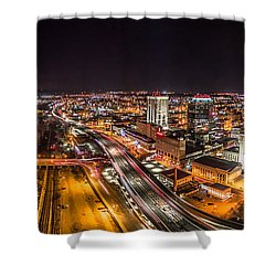 Springfield Massachusetts Night Long Exposure Panorama Shower Curtain by Petr Hejl