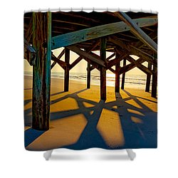 Springmaid Pier At Sunrise Shower Curtain by David Smith