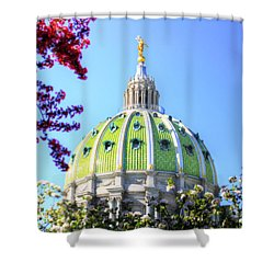 Shower Curtain featuring the photograph Spring's Arrival At The Pennsylvania Capitol by Shelley Neff