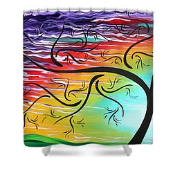 Springs Song By Madart Shower Curtain by Megan Duncanson