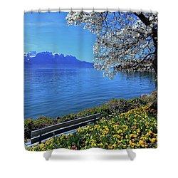 Springtime At Geneva Or Leman Lake, Montreux, Switzerland Shower Curtain by Elenarts - Elena Duvernay photo