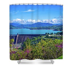 Springtime At Shasta Lake Dam Shower Curtain
